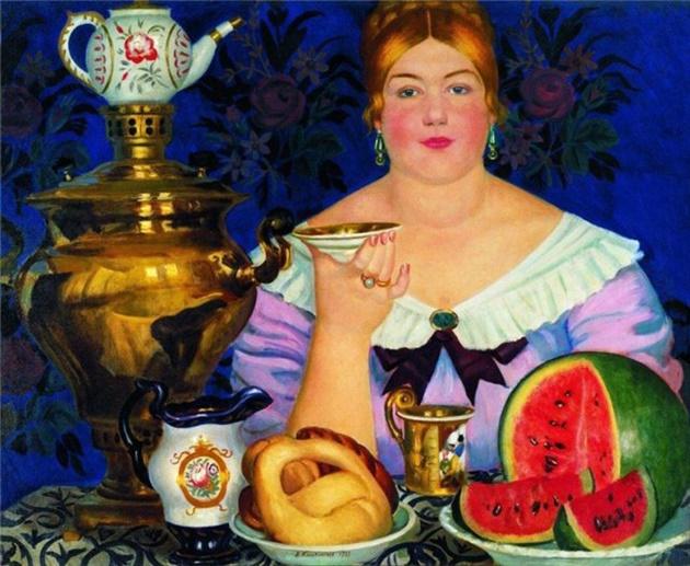 Б.Кустодиев. Купчиха, пьющая чай630.jpg
